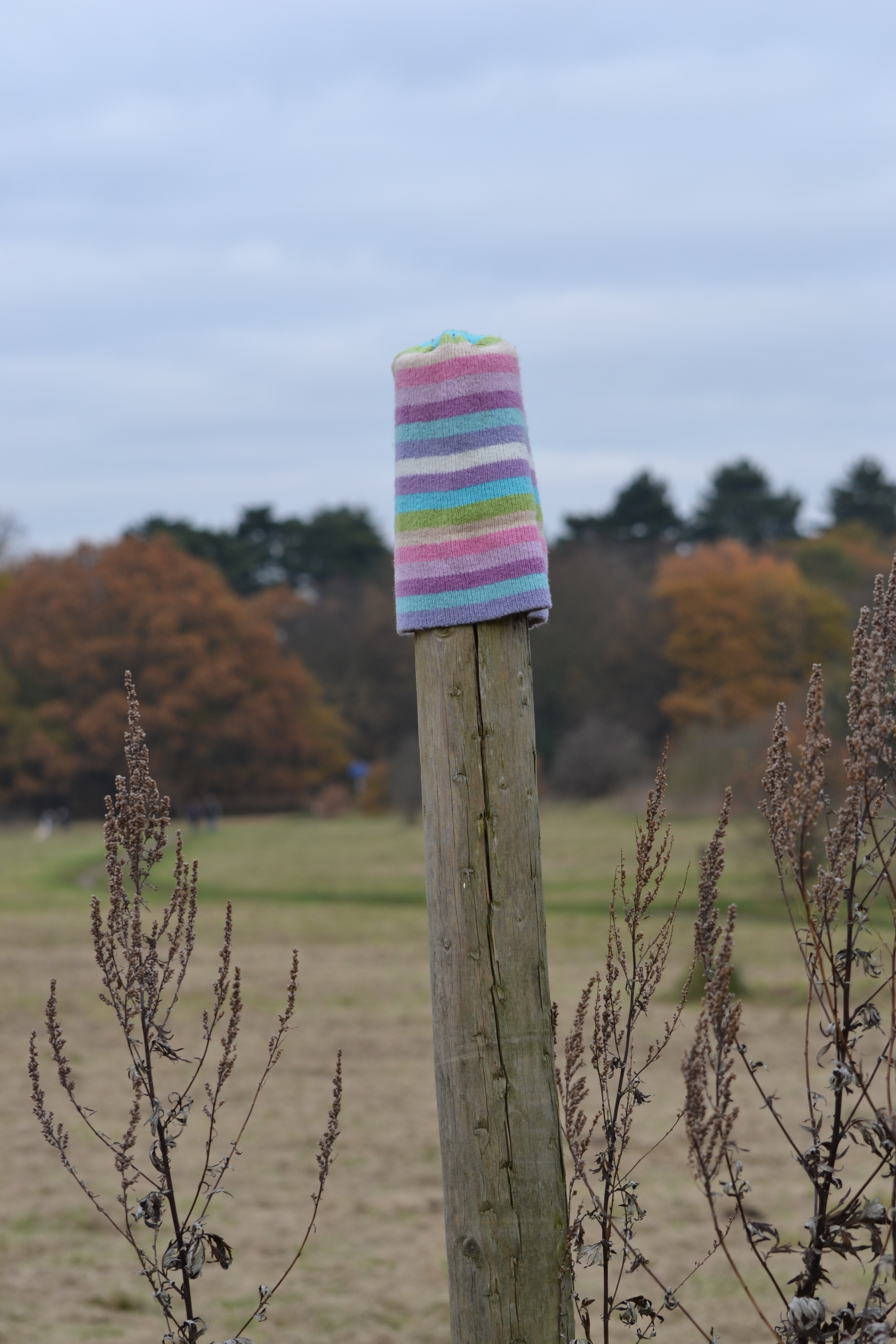 Stripey hat on post