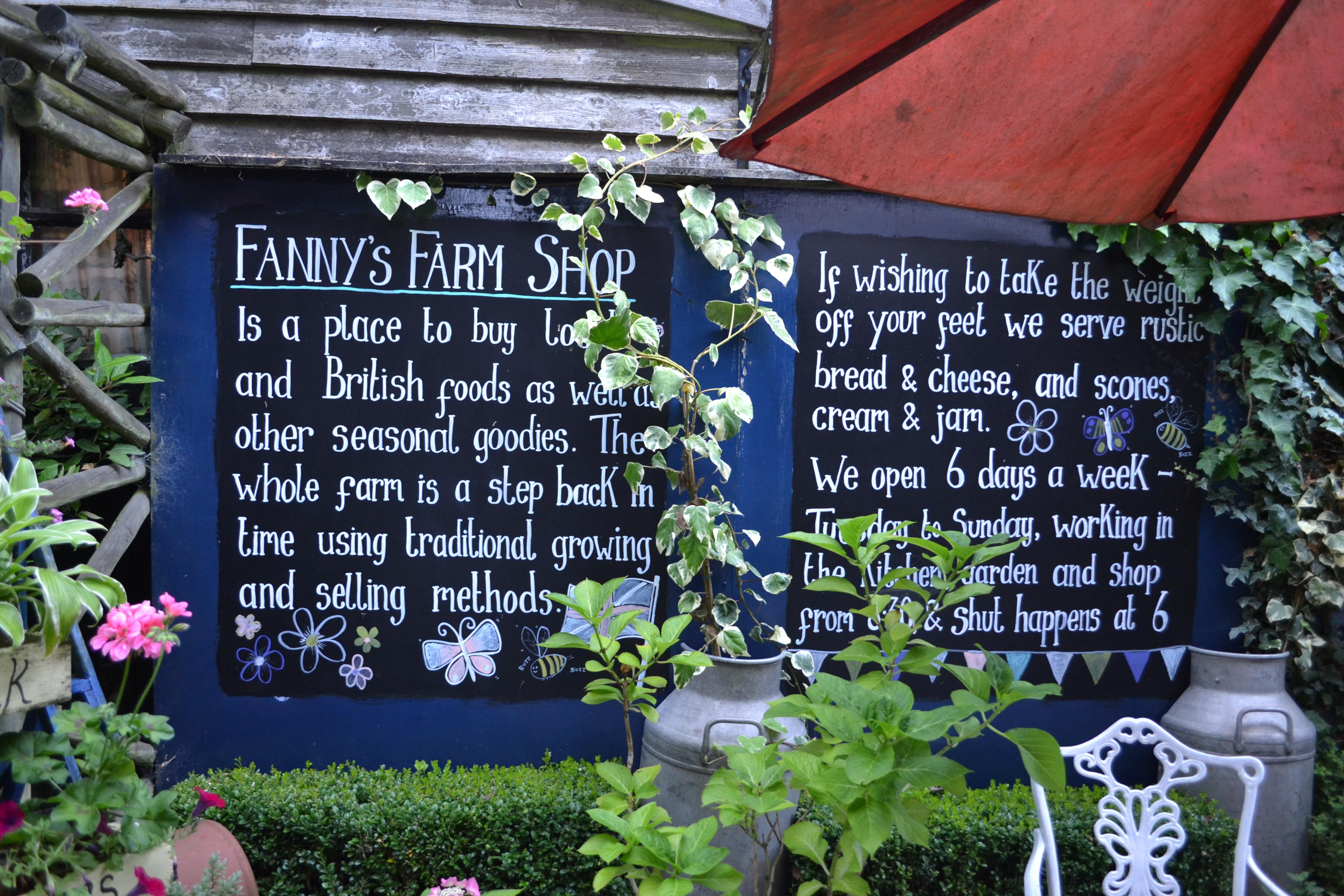 Fanny's Farm chalkboard