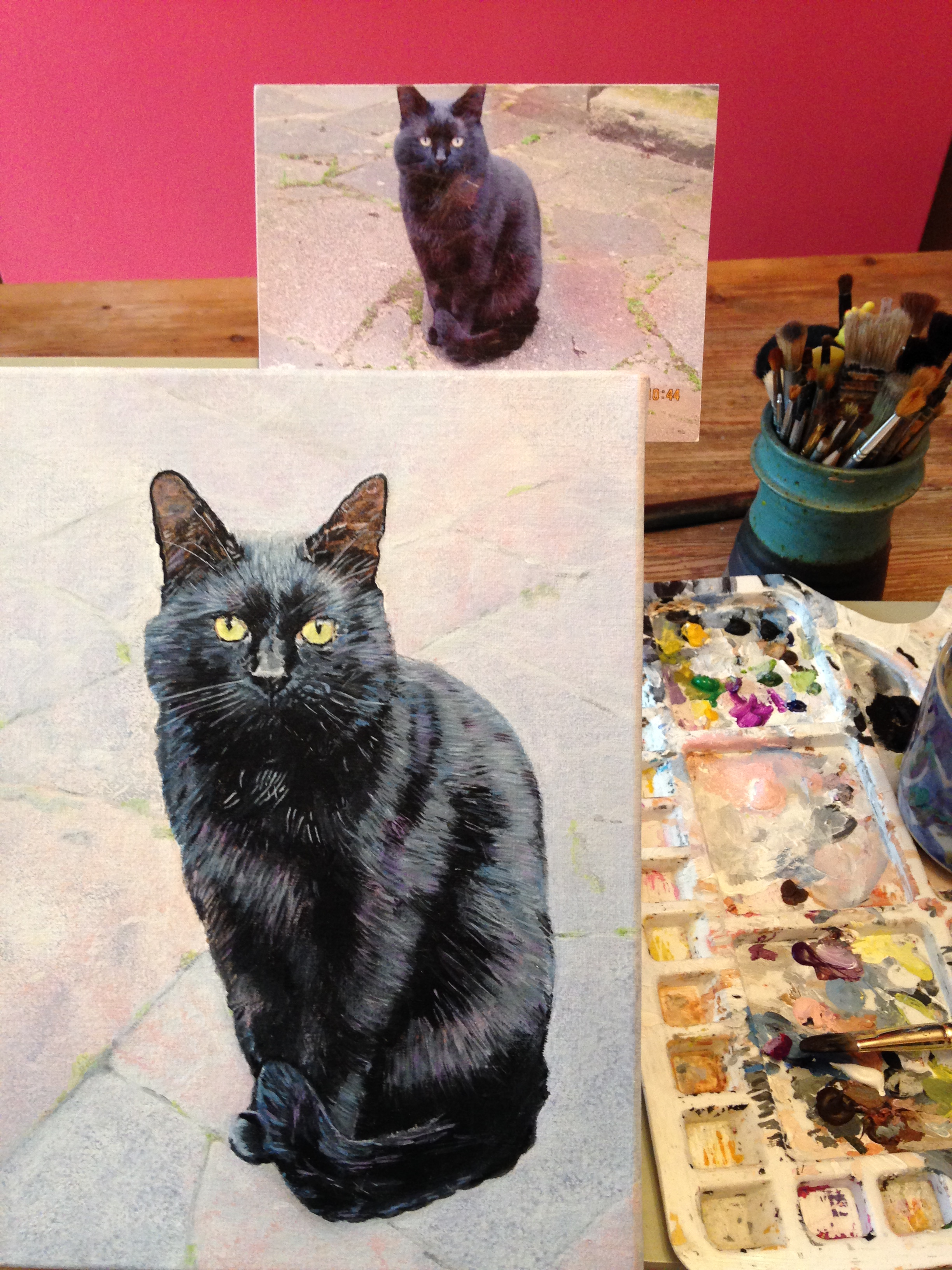 Cocoa on easel